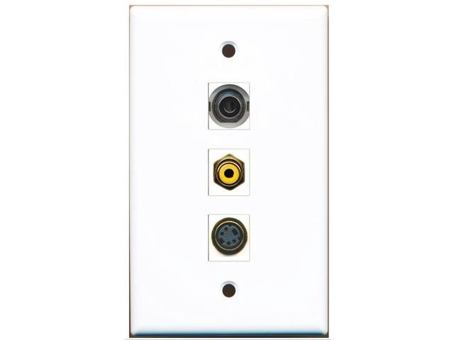 RiteAV - 1 Port RCA Yellow and 1 Port S-Video and 1 Port 3.5mm Wall Plate