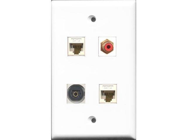 RiteAV 1 Port RCA Red and 1 Port Toslink 2 Port Cat6 Ethernet White Wall Plate
