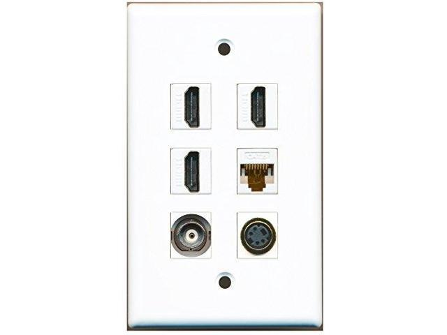 RiteAV - 3 HDMI 1 Port S-Video 1 Port BNC 1 Port Cat6 Ethernet White Wall Plate