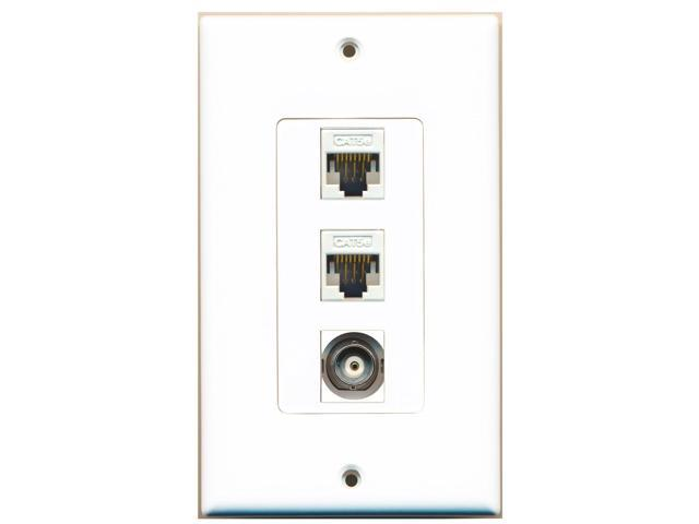 RiteAV - 1 Port BNC 2 Port Cat5e Ethernet White Decora Wall Plate