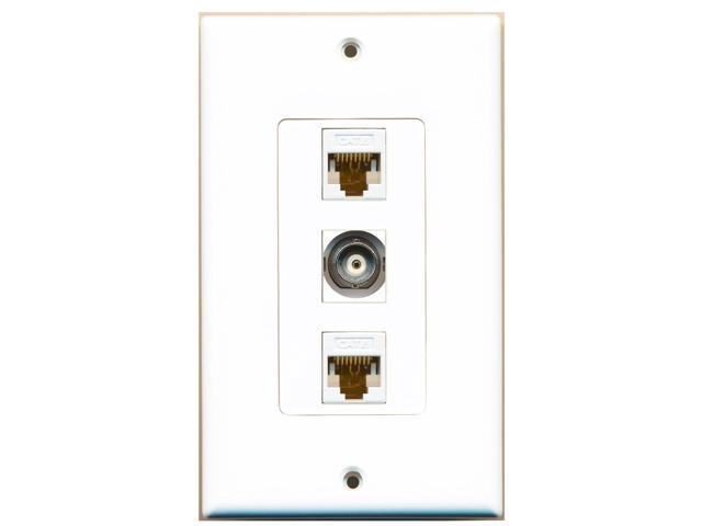 RiteAV - 1 Port BNC 2 Port Cat6 Ethernet White Decora Wall Plate Decora