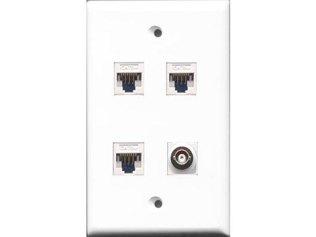 RiteAV - 1 Port BNC 3 Port Cat5e Ethernet White Wall Plate