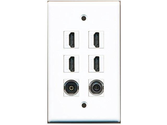 RiteAV - 4 Port HDMI 1 Toslink 1 3.5mm Wall Plate White