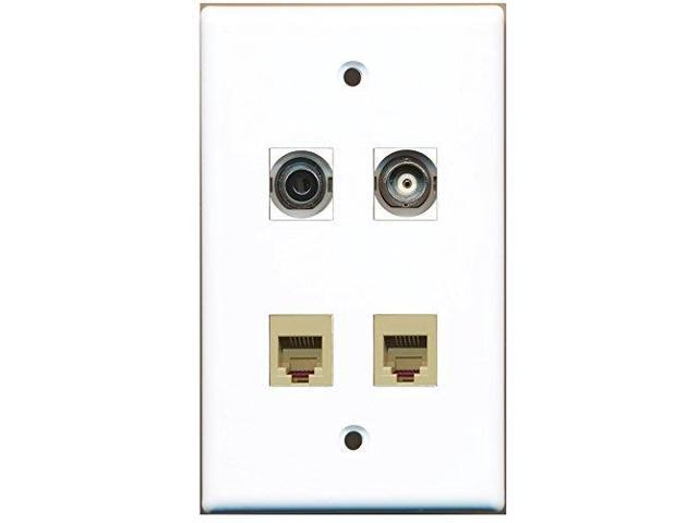 RiteAV - 2 Port Phone RJ11 RJ12 Beige 1 Port 3.5mm 1 Port BNC Wall Plate