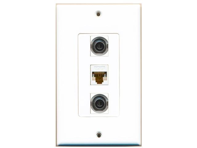 RiteAV - 2 Port 3.5mm and 1 Port Cat6 Ethernet White Decora Wall Plate Decora