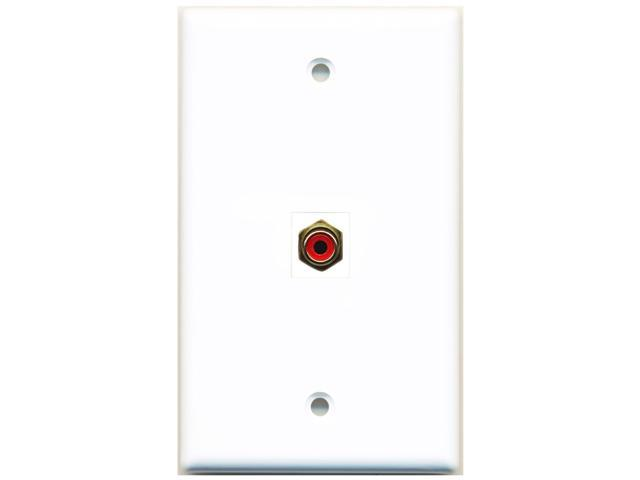 RiteAV 1 RCA Red for Subwoofer Wall Plate Coupler Keystone Type Jack