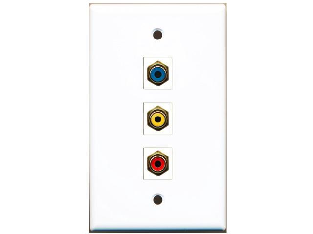RiteAV - 1 Port RCA Red and 1 Port RCA Yellow and 1 Port RCA Blue Wall Plate