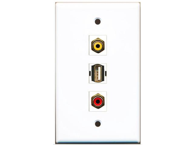 RiteAV - 1 Port RCA Red and 1 Port RCA Yellow and 1 Port USB A-A Wall Plate