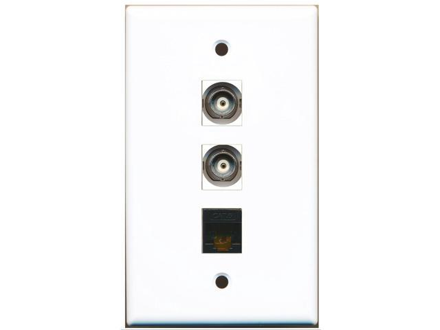 RiteAV - 2 Port BNC and 1 Port Cat6 Ethernet Black Wall Plate