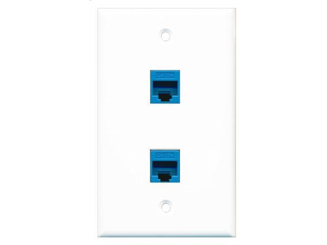 RiteAV - 2 Port Cat5e Ethernet Blue Wall Plate