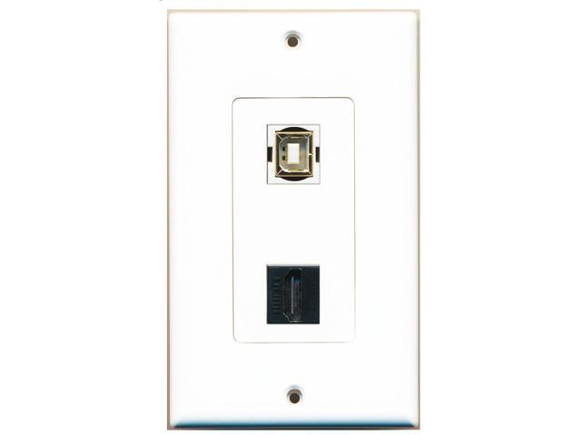 RiteAV - 1 Port HDMI Black 1 Port USB B-B Decorative Wall Plate