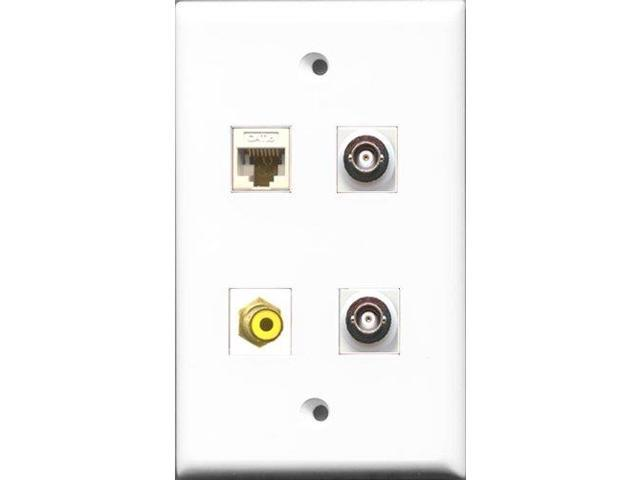 RiteAV 1 Port RCA Yellow 2 Port BNC and 1 Port Cat6 Ethernet White Wall Plate