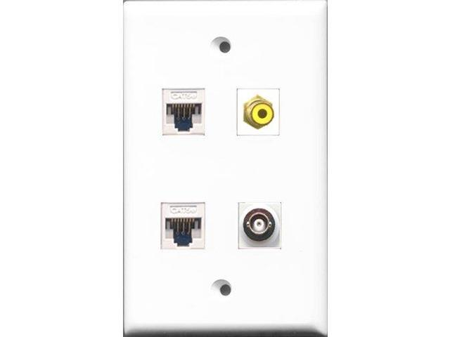 RiteAV 1 Port RCA Yellow and 1 Port BNC 2 Port Cat5e Ethernet White Wall Plate