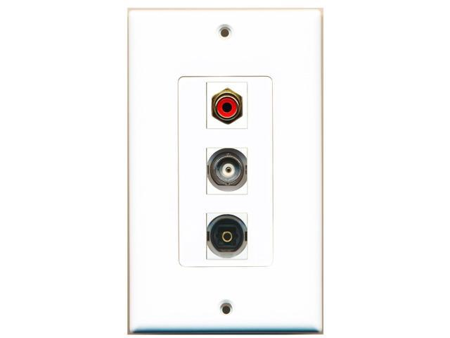RiteAV - 1 Port RCA Red and 1 Port Toslink and 1 Port BNC Decora Wall Plate D...
