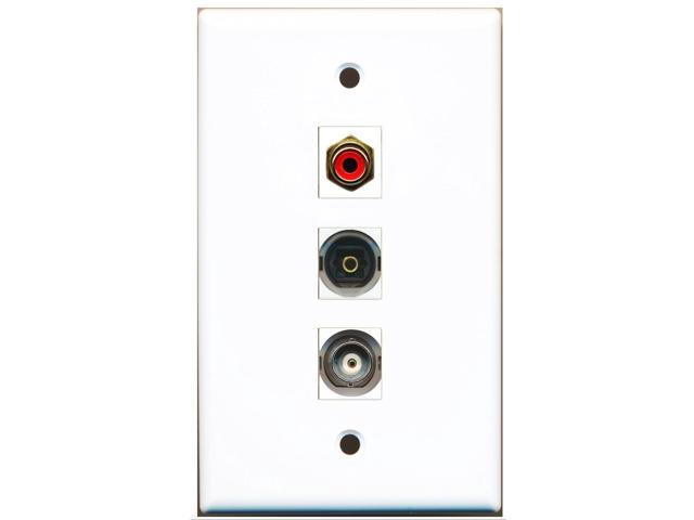 RiteAV - 1 Port RCA Red and 1 Port Toslink and 1 Port BNC Wall Plate