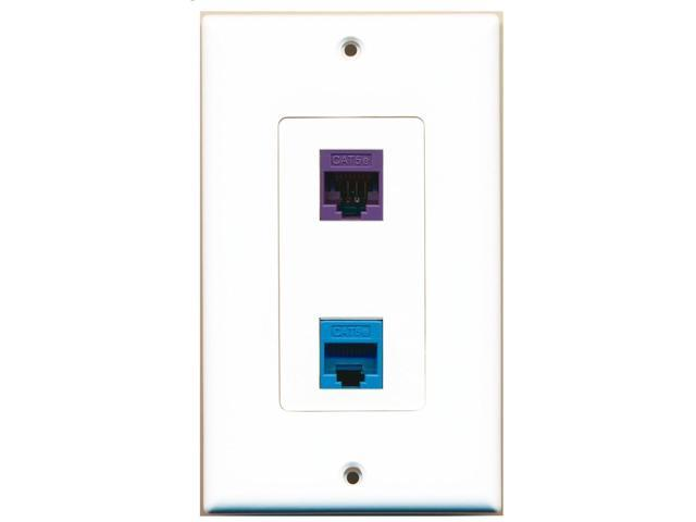 RiteAV - 1 Port Cat5e Ethernet Blue - 1 Port Cat5e Ethernet Purple Wall Plate...