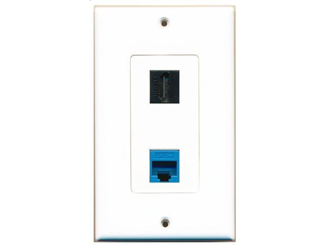 RiteAV - 1 Port Cat5e Ethernet Blue 1 Port HDMI Black Decorative Wall Plate