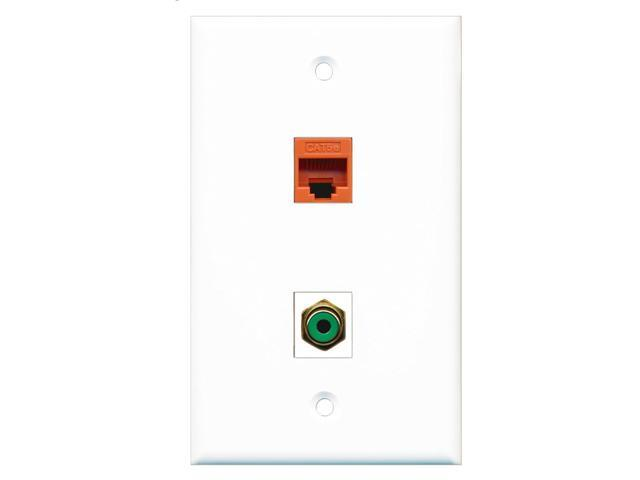RiteAV - 1 Port RCA Green 1 Port Cat5e Orange Wall Plate White