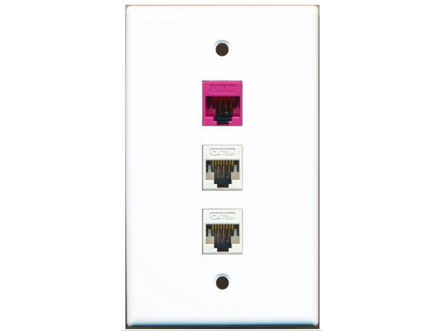 RiteAV - 2 Port Cat5e Ethernet White 1 Cat5e Ethernet Pink Wall Plate