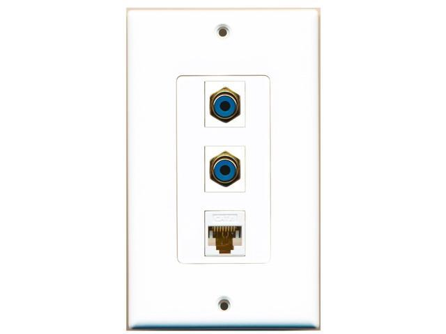 RiteAV - 2 Port RCA Blue and 1 Port Cat6 Ethernet White Decora Wall Plate Decora