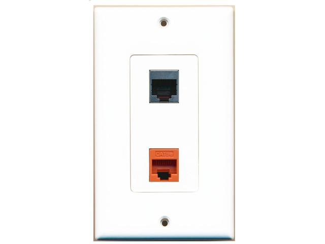 RiteAV - 1 Port Cat5e Ethernet Orange 1 Port RJ45 Shielded Decorative Wall Plate