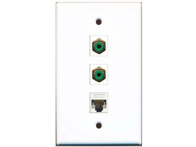 RiteAV - 2 Port RCA Green and 1 Port Cat5e Ethernet White Wall Plate