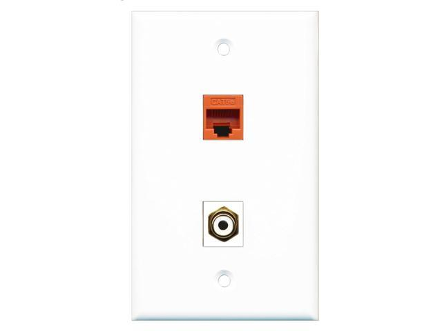 RiteAV - 1 Port RCA White 1 Port Cat5e Ethernet Orange Wall Plate