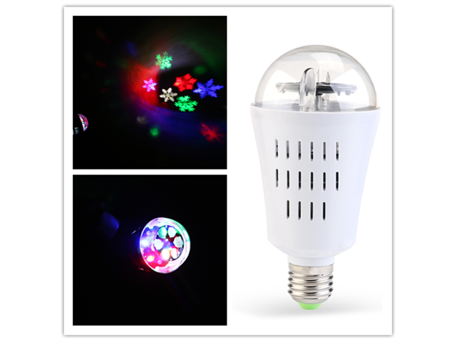 TinkSky LED Light Bulb Holiday Projection Lights Auto Rotating LED Lamp E27 Base 4W Crystal Ball Stage Light for Halloween Party DJ Home Room (Colorful Snowflake)