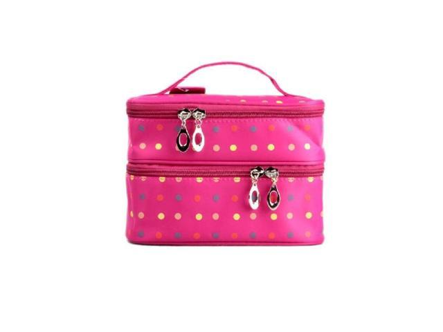 TinkSky Handheld Women's Girls Polka Dots Two-layer Cosmetic Makeup Bag Zipper Pouch Toiletry Wash Bag Organizer for Travel Home Use (Rosy)