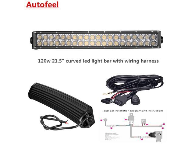 autofeel curved 21 5 120w led light bar with wiring. Black Bedroom Furniture Sets. Home Design Ideas