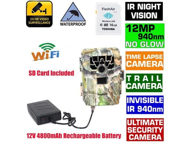 Sg-880v 2inch Lcd Time Lapse Ip66 940nm Hd 12mp 1080P GPS 2 /3/ 4X Digital Zoom Support WIFI SD Card Infrared Trail Hunting Scouting Trail Camera Ir Led Night (Add 16gb Wifi Sd Card and Battery)