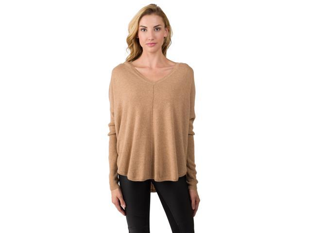 Cashmere long sleeve oversize pullover v neck raglan sweater camel