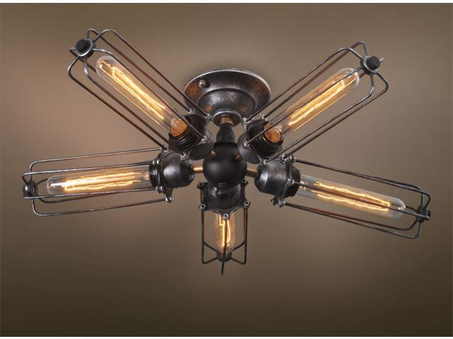 ... Iron Ceiling Lamp Chandelier Light Fixture Rustic Steampunk Art Deco