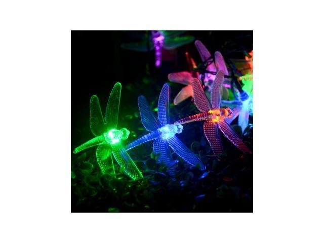LederTEK 20 Battery Operated Dragonfly String Lights Outdoor/Indoor Home Decoration Christmas ...