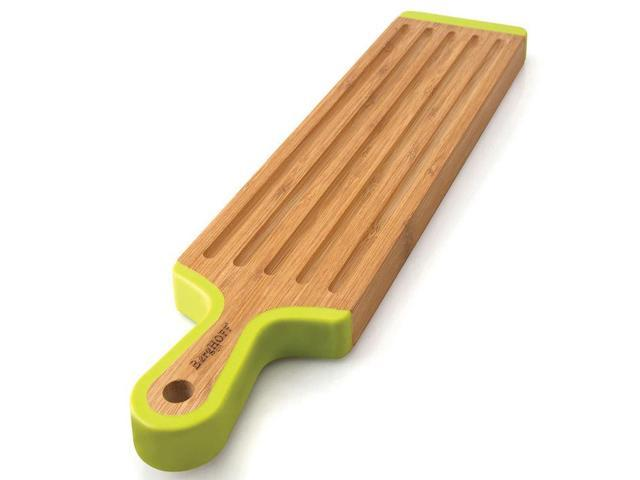 Studio Paddle-Shaped Grooved Bamboo Chopping Board with Handle and Silicone Accents by BergHOFF