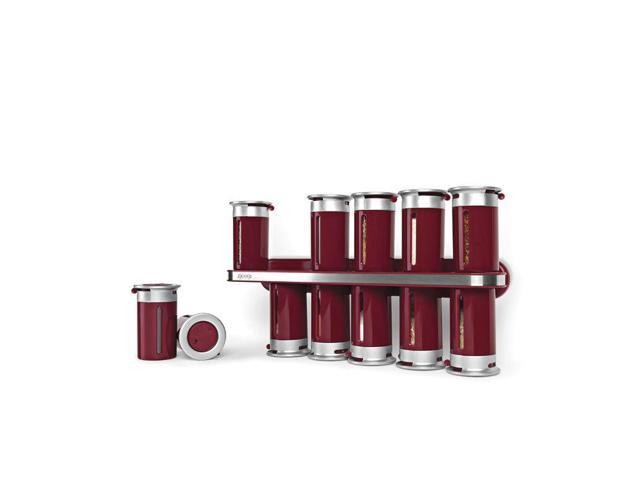 Zevro Zero Gravity Silver Magnetic Wall-Mounted Spice Rack - 12 Canister