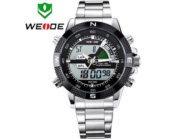WEIDE Fashion Personality Men Waterproof Stainless Steel LED Watches with Double Movt Display Time Round Shaped