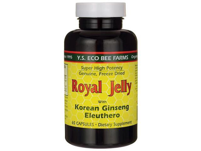 Royal Jelly 200 mg + Ginseng (Siberian 200mg, Korean 100mg) - YS Eco Bee Farms - 65 - Capsule