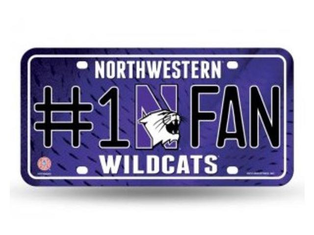 Northwestern wildcats 1 fan metal license plate for Northwestern industries