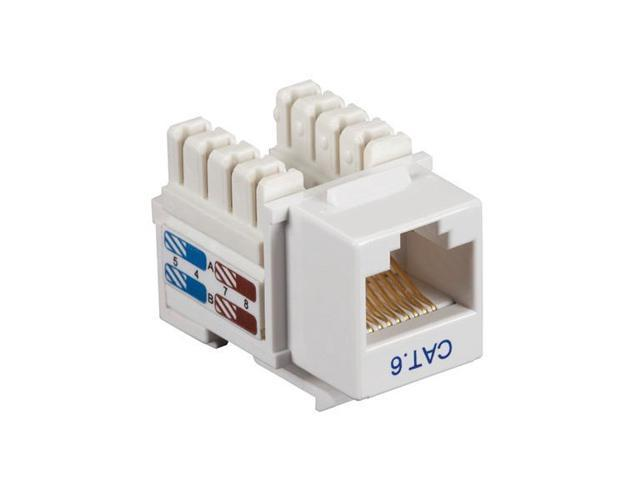Black Box Network Services CAT6J-WH-25PAK Connect CAT6 RJ-45 Unshielded Keystone Jack, White - Pack of 25