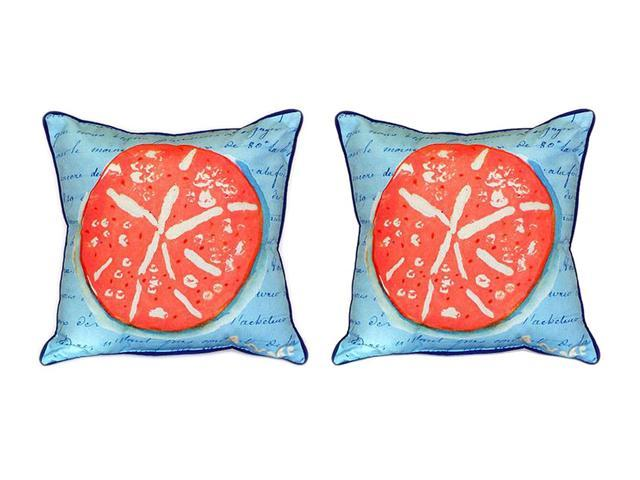 Pair of Betsy Drake Coral Sand Dollar Blue Large Pillows 18 Inchx18 Inch