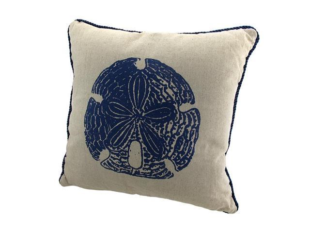Linen Sand Dollar Decorative Throw Pillow with Navy Blue Accents 15in.