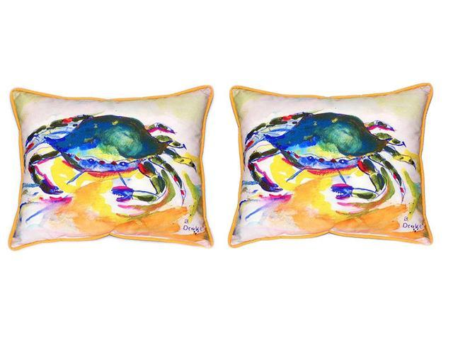 Pair of Betsy Drake Green Crab Large Indoor/Outdoor Pillows 16x20