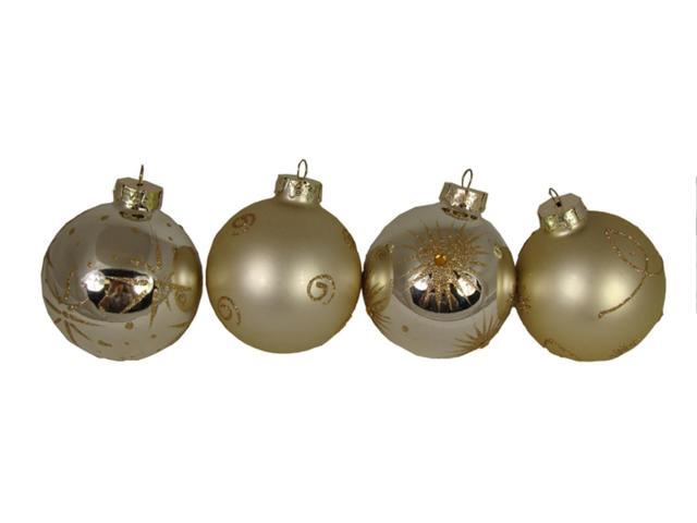 Set of 4 Champagne Shatterproof Christmas Ball Ornaments with Glitter 3.25