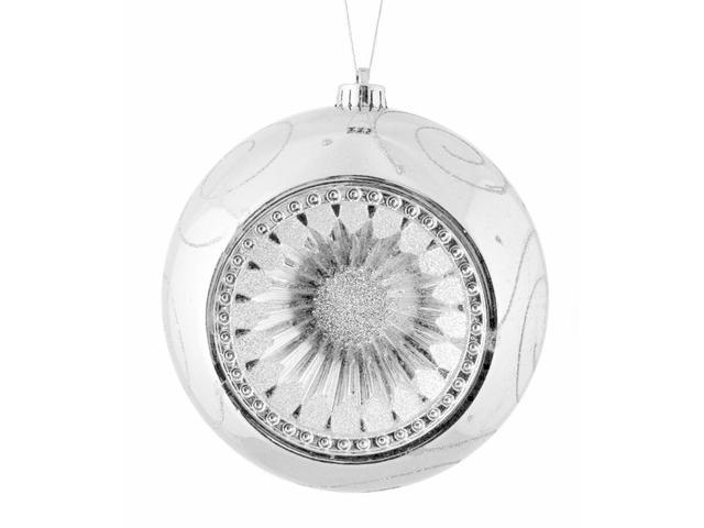 Silver Retro Reflector Shatterproof Christmas Ball Ornament 8
