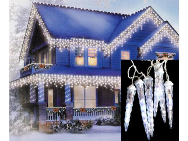 Set of 6 LED Clear White Dripping Icicle Shape Christmas Lights - White Wire