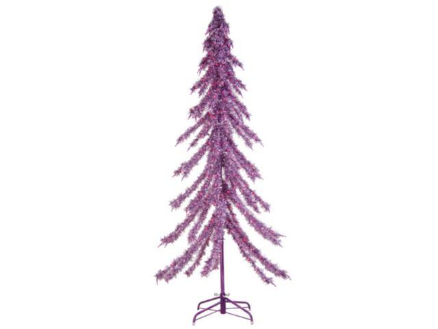 6' Pre-Lit Downswept Holographic Purple Tinsel Christmas Tree #2758-60PR