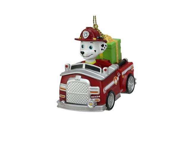 "3"" Paw Patrol Marshall Dog in Fire Truck Decorative Christmas Ornament"