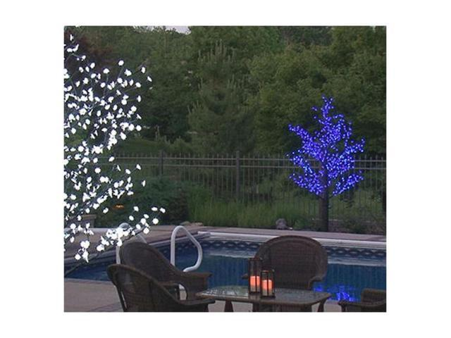 8.5' Pre-Lit LED Outdoor Christmas Tree Decoration - Blue Flower Lights