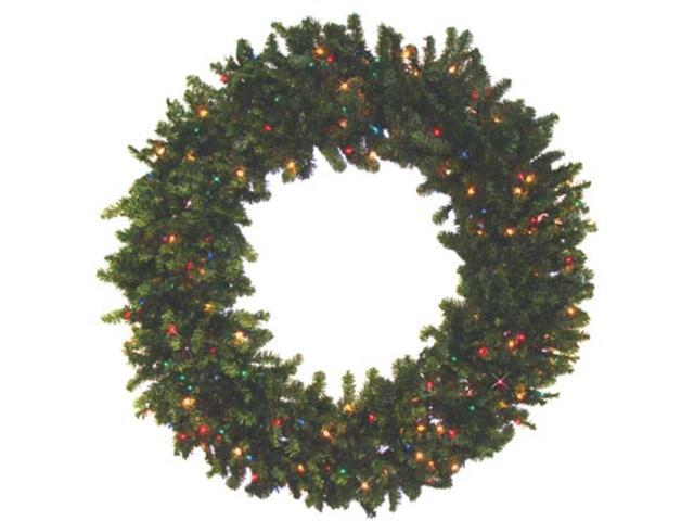 Commercial 8' Pre-Lit Canadian Pine Artificial Christmas Wreath - Multi Lights